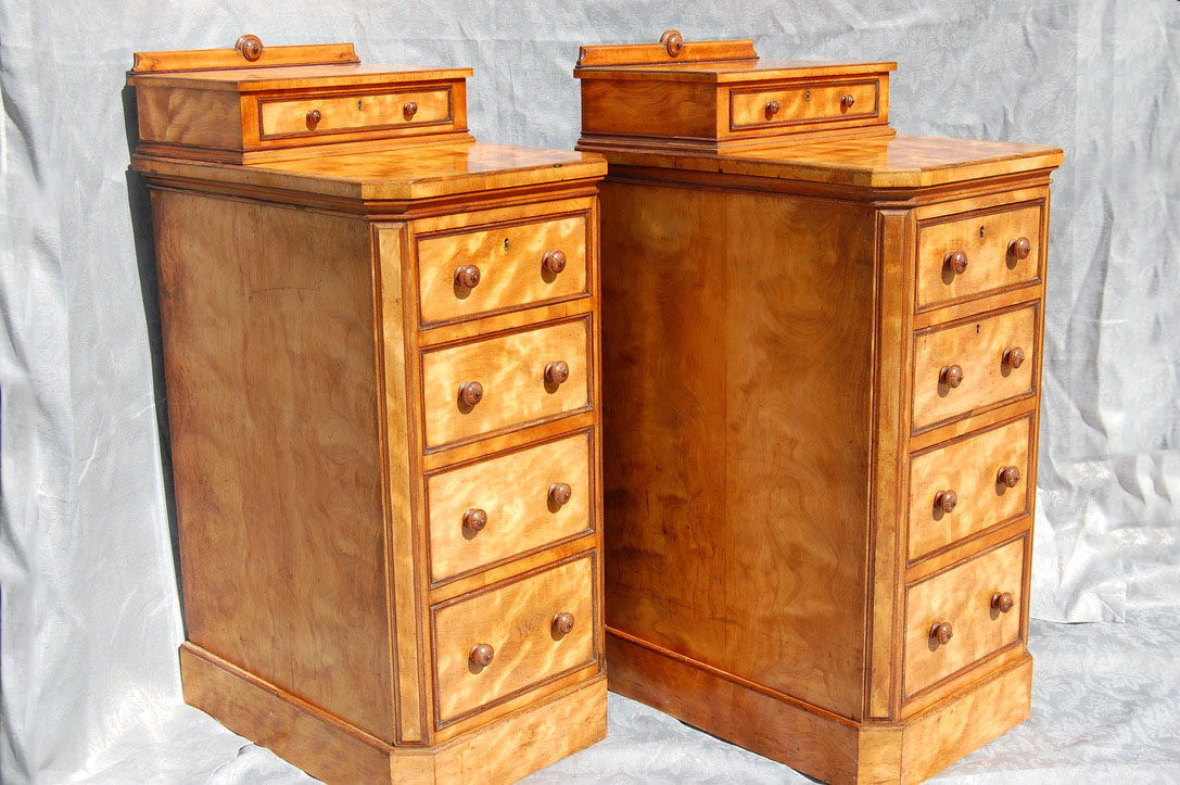 Pair of tall Satin Birch Cabinets