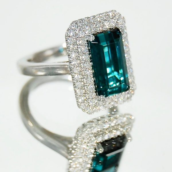 Teal Tormaline and Diamond ring