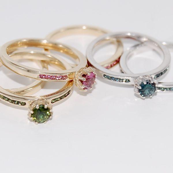 Tourmaline stacking rings