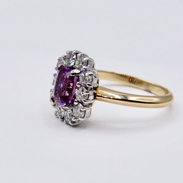 Purple sapphire cluster ring